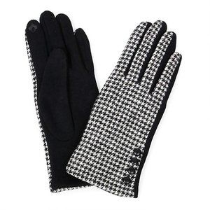 NWT HoundsTooth Gloves with Button Detail -Touchscreen Compatable
